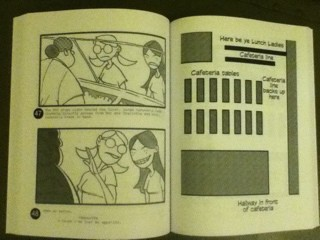 "Photo of storyboard pages in ""26 Screenplays for Independent Filmmakers"""